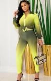 Herbst-Farbverlauf Gelb Langarm Bluse und Skinny Pants Set