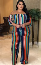Herbst Plus Size Schulterfrei Multi Striped Loose Jumpsuit