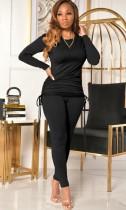 Sonbahar Siyah Uzun Kol Yuvarlak Yaka İpli Üst ve Uyumlu Pantolon Takım