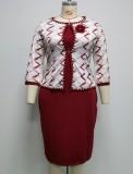 Herbstliches rotes afrikanisches Bürokleid in Übergröße mit Jacken-Set