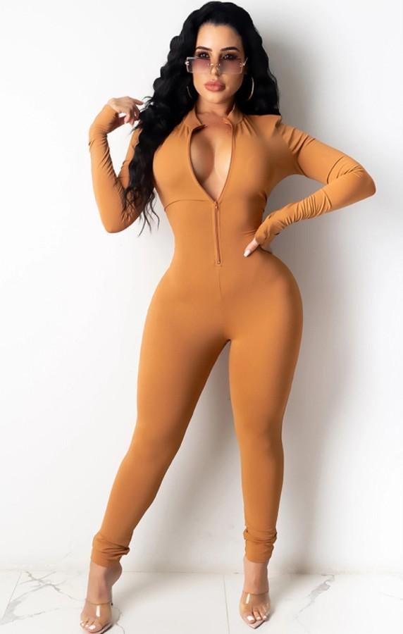 Tuta skinny con zip a maniche lunghe color kaki autunno