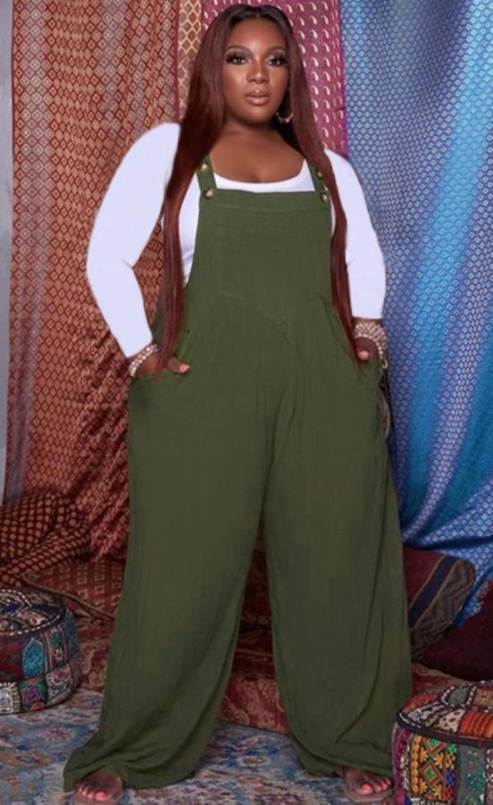 Herbst Plus Size Grüner Jumpsuit mit lockerem Hosenträger