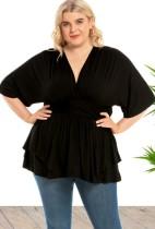 Blusa acampanada con cuello en V y media manga negra de talla grande de otoño