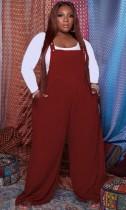 Herbst Plus Size Roter Jumpsuit mit lockerem Hosenträger