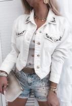 Giacca di jeans a maniche lunghe con strass bianco autunnale