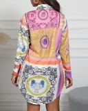 Autumn Ethnic Print Langarm-Hemdkleid (keine goldene Kette)