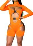 Herbst Orange Schnalle Ausgeschnittener Reißverschluss Stehkragen Langarm Strampler