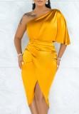 Sommer Sexy Gelb One Shoulder Schlitz Midikleid