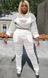 Herbst Plus Size Weiß Durchsichtig mit Innen-BH und Höschen Set aus Langarm-Top und Hose