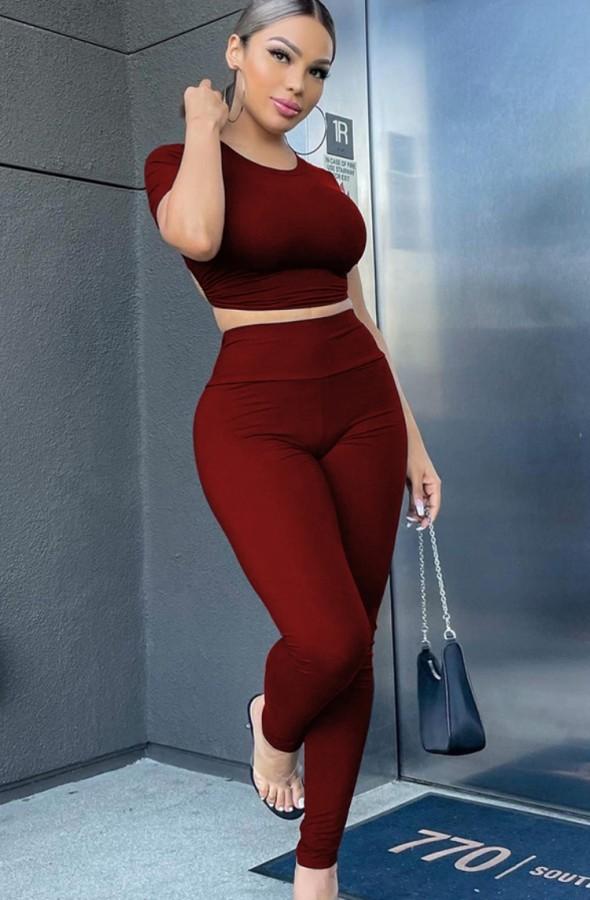 Sommer Sexy Rot Kurzarm Crop Top und Hose Set