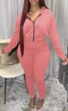 Herbst-Pink Hoodies mit Reißverschluss Langarm-Top und Hose Set