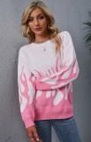 Herbst-Pullover mit Rundhalsausschnitt in Rosa und Weiß mit Flammen