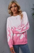 Suéter de cuello redondo de manga larga con llamas rosas y blancas de otoño