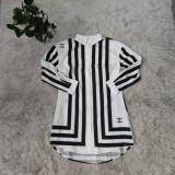 Herbst Weiß und Schwarz gestreiftes Langarm-Hemdkleid (ohne Gürtel)