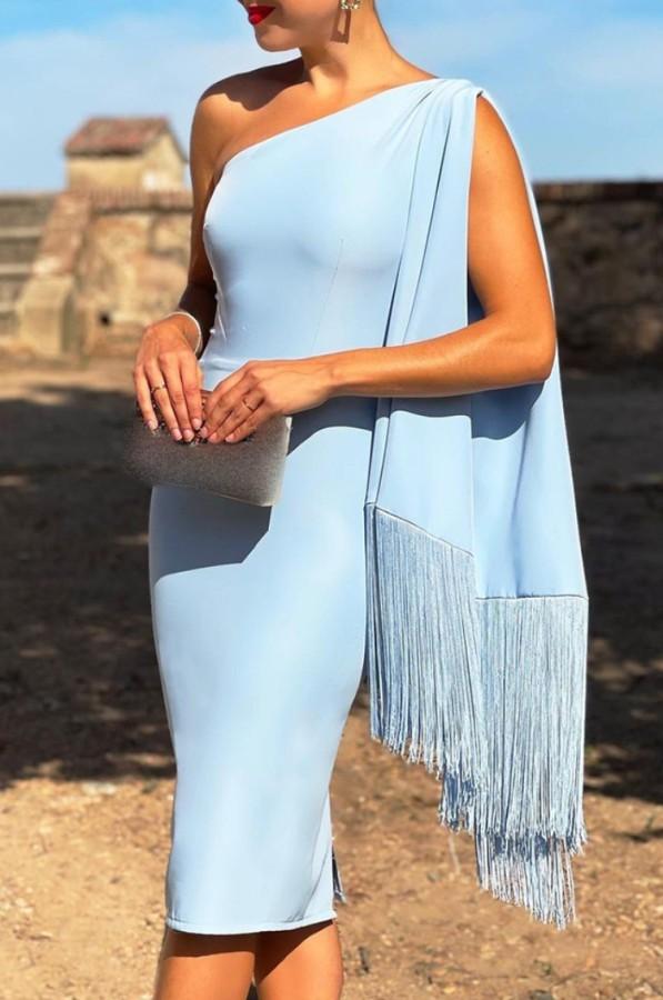Sommer Sexy Blau schulterfrei mit Quasten Midikleid