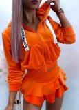 Herbst Orange Hoodies mit weißem Buchstaben Seil Langarm Top und Rüschenrock Set