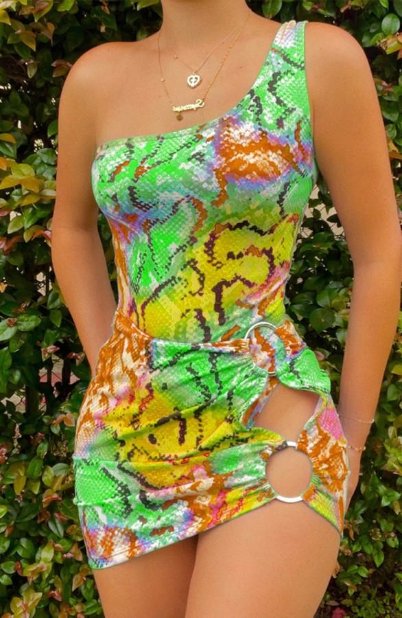 Sommer Sexy Bunte Schlangenhaut Print One Shoulder Aushöhlen Minikleid