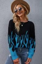 Suéter de cuello redondo de manga larga con llamas negras y azules de otoño