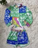 Herbstliches Ethnisches Print-Langarmhemd und Shorts-Set