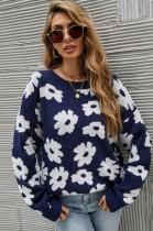 Suéter de cuello redondo de manga larga con flores blancas de otoño