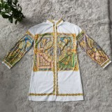 Herbst-Hemdkleid mit ethnischem Print