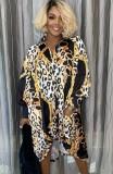 Herbstkleid mit Leoparden-Knöpfen und langen Ärmeln, lockeres Blusenkleid