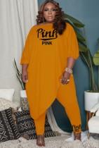 Herbst Plus Size Orange Halbarm Lose Unregelmäßige Top und passende Hosen Set