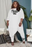 Herbst Plus Size Weiß Halbarm Lose Unregelmäßige Top und passende Hosen Set