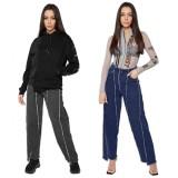 Herbstliche schwarze Patchwork-Jeans mit hoher Waschung