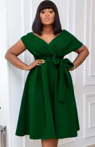 夏のエレガントなグリーンのVネックオフショルダーフォーマルスケータードレス