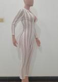 Herbst Sexy Weißer Reißverschluss Langarm Transparent Mesh Overall