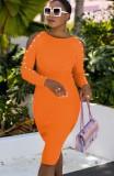 Herbst Orange Elegantes Cutout Langarm Slim Midikleid