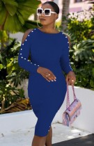 Herbst Blau Elegantes Cutout Langarm Slim Midikleid