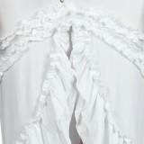 Sommer Plus Size Weiß Off Shoulder Unregelmäßige Rüschen Maxikleid