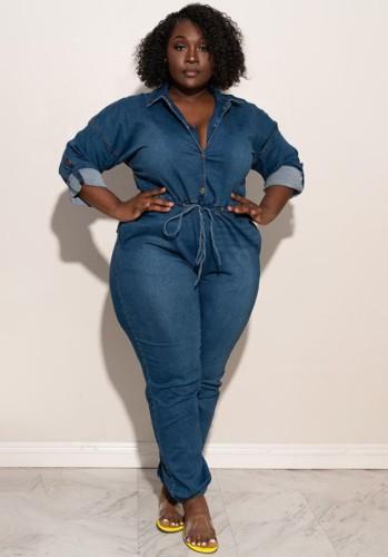 Autumn Plus Size Dark Blue Button Up Long Sleeve Denim Jumpsuit