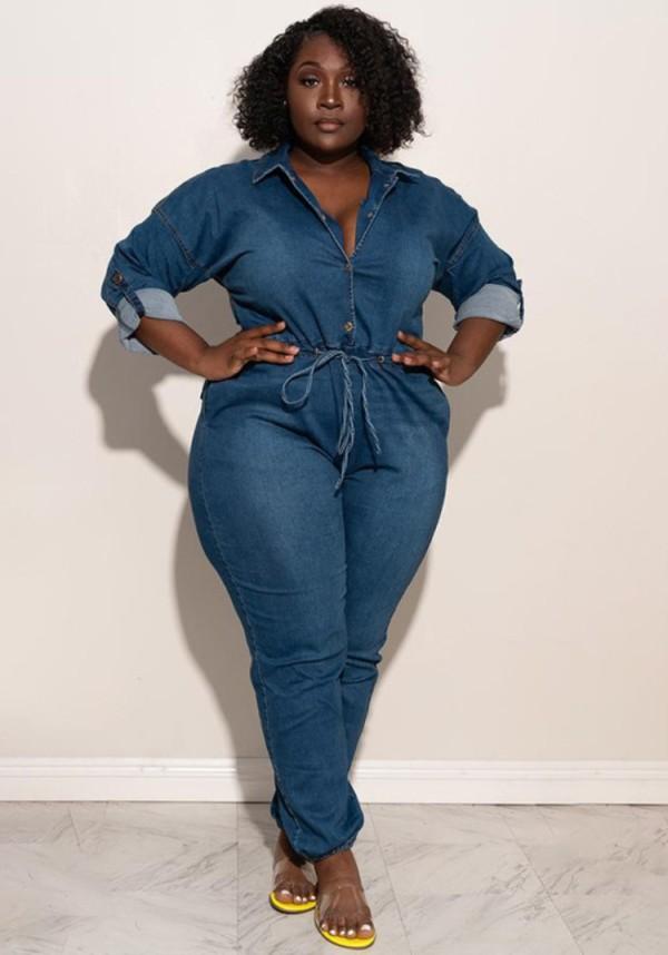 Autumn Plus Size Dunkelblauer Langarm-Jeansoverall mit Knöpfen
