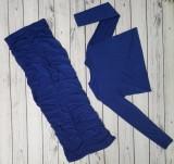 Herbst-Set aus reinem Blau mit langen Ärmeln und gerafftem langem Rock