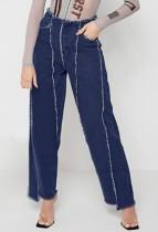 Herbstblaue Patchwork-Jeans mit hoher Waschung