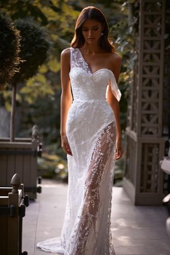 Summer Sexy Floral White One Shoulder Split Wedding Dress