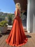 Sommer Sexy Orange One Shoulder Split Satin Abendkleid