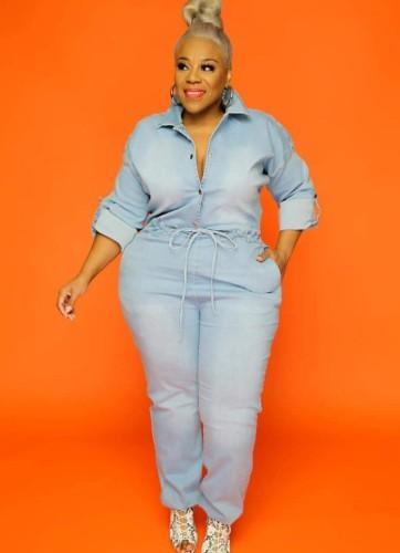 Autumn Plus Size Light Blue Button Up Long Sleeve Denim Jumpsuit