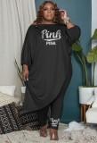 Herbst Plus Size Schwarz Halbarm Lose Unregelmäßige Top und passende Hosen Set