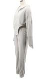 Herbst-weißer Reißverschluss Langarm-Kapuzen-Sport-Trainingsanzug