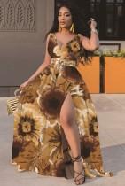 Vestido largo cruzado sin mangas marrón floral de verano