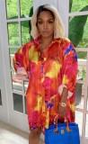 Herbstrot bedrucktes, langärmliges, lockeres Blusenkleid mit Knöpfen