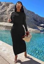 Conjunto de falda larga con pliegues y top de manga larga negro puro de otoño