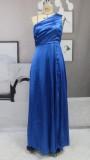 Sommer Sexy Blau One Shoulder Split Satin Abendkleid