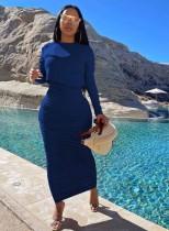 Conjunto de falda larga con pliegues y top de manga larga azul puro de otoño