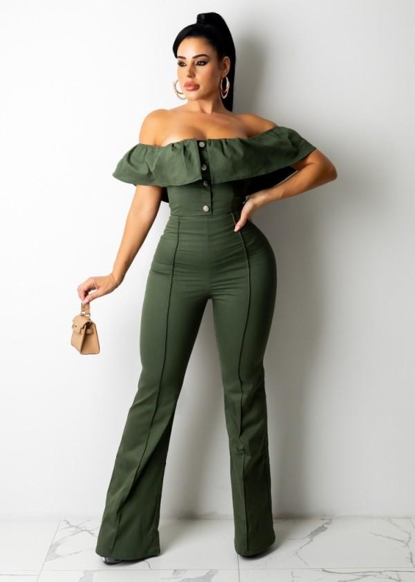 Herbstgrüner, eleganter, geknöpfter, schulterfreier Jumpsuit