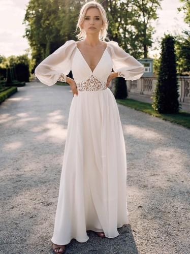 Autumn Sexy V-neck Puff Sleeve Wedding Dress